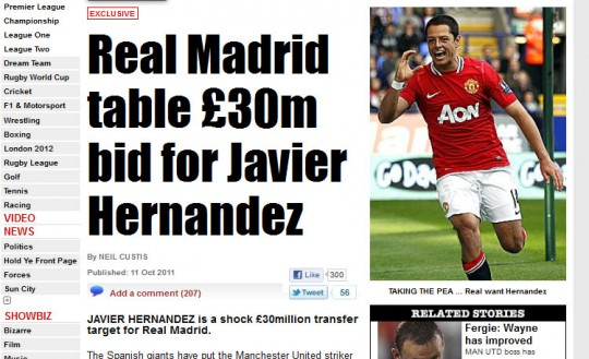 Real Madrid bid Hernandez 540x329 Real Mad Money For The Red Devils
