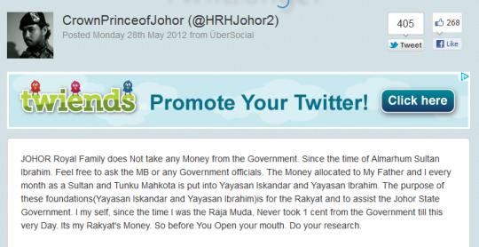 Tweet HRH 540x278 Bila RM520K Jadi Isu