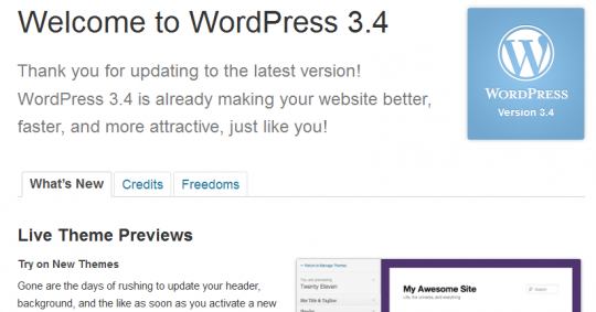 wordpress 3.4 540x283 WordPress Dan Plugin Tidak Serasi