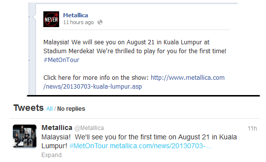 Metallica Enter Sandmen: Metallica LIVE In Malaysia 2013