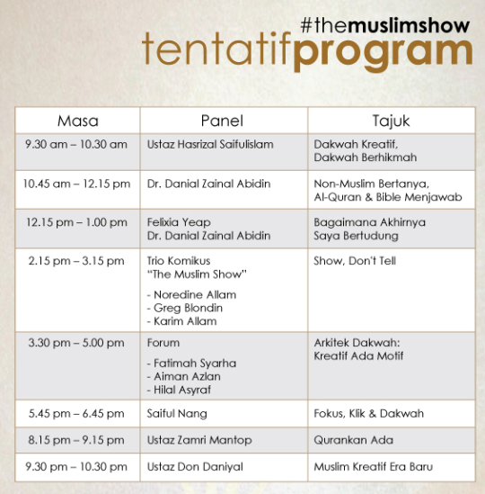 tentatif program Dakwah Kreatif Era Baru: The Muslim Show Comic