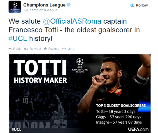 UCL Oldest player to score