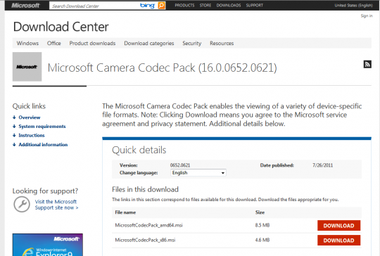 Microsoft Camera Codec