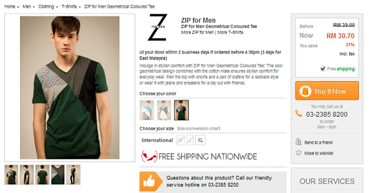 ZIP for Men Geometrical Coloured Tee