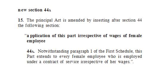 seksyen 44a Akta Kerja (Pindaan) 2012