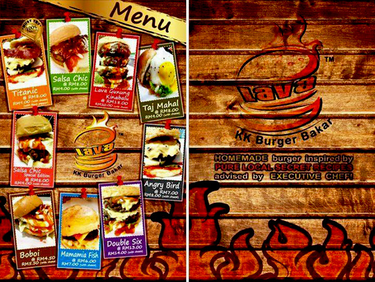 KK Burger Bakar menu