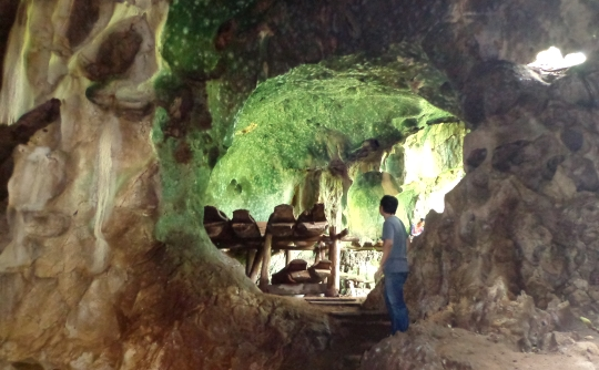 The coffins inside the caves