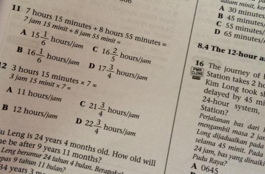 matematik dalam bahasa inggeris