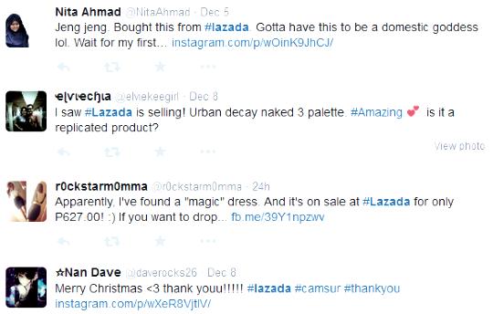 Lazada shopping tweets