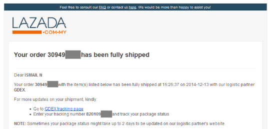 Lazada shipping