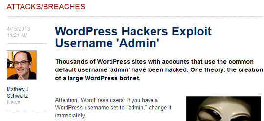 admin username