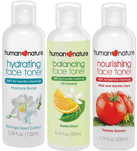 Human Nature range of facial toners