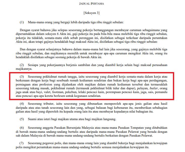 Jadual 1 Akta Perkeso