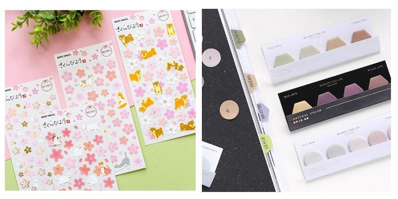 Mind Wave Gold Foil Sakura Shiba Inu & Cat Stickers and Gradient Pastel Hexagon Geometry Index Stickers