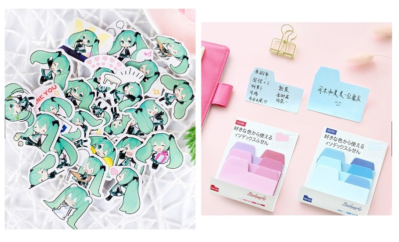 Hatsune Miku Loose Sticker Pack and Colourful Pastel Gradient Index Sticky Note