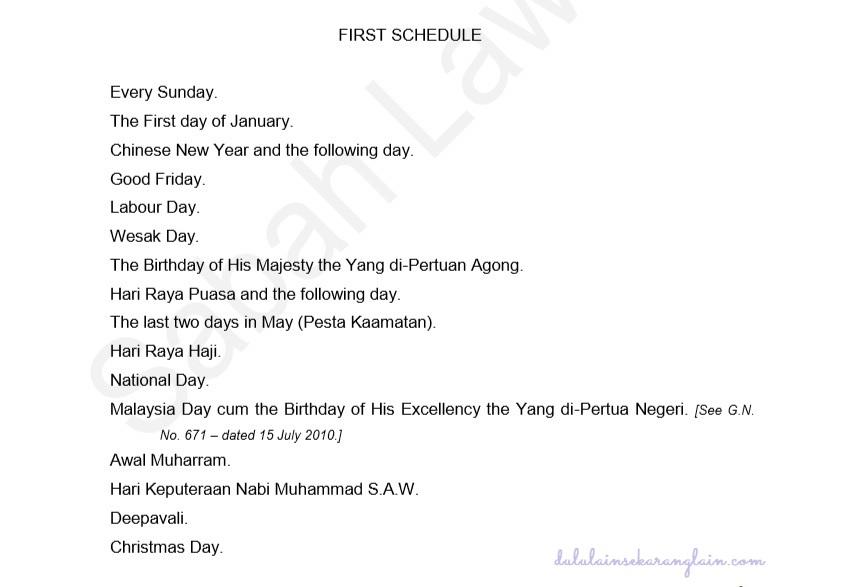 First Schedule, Holidays Ordinance (Sabah Cap. 56)