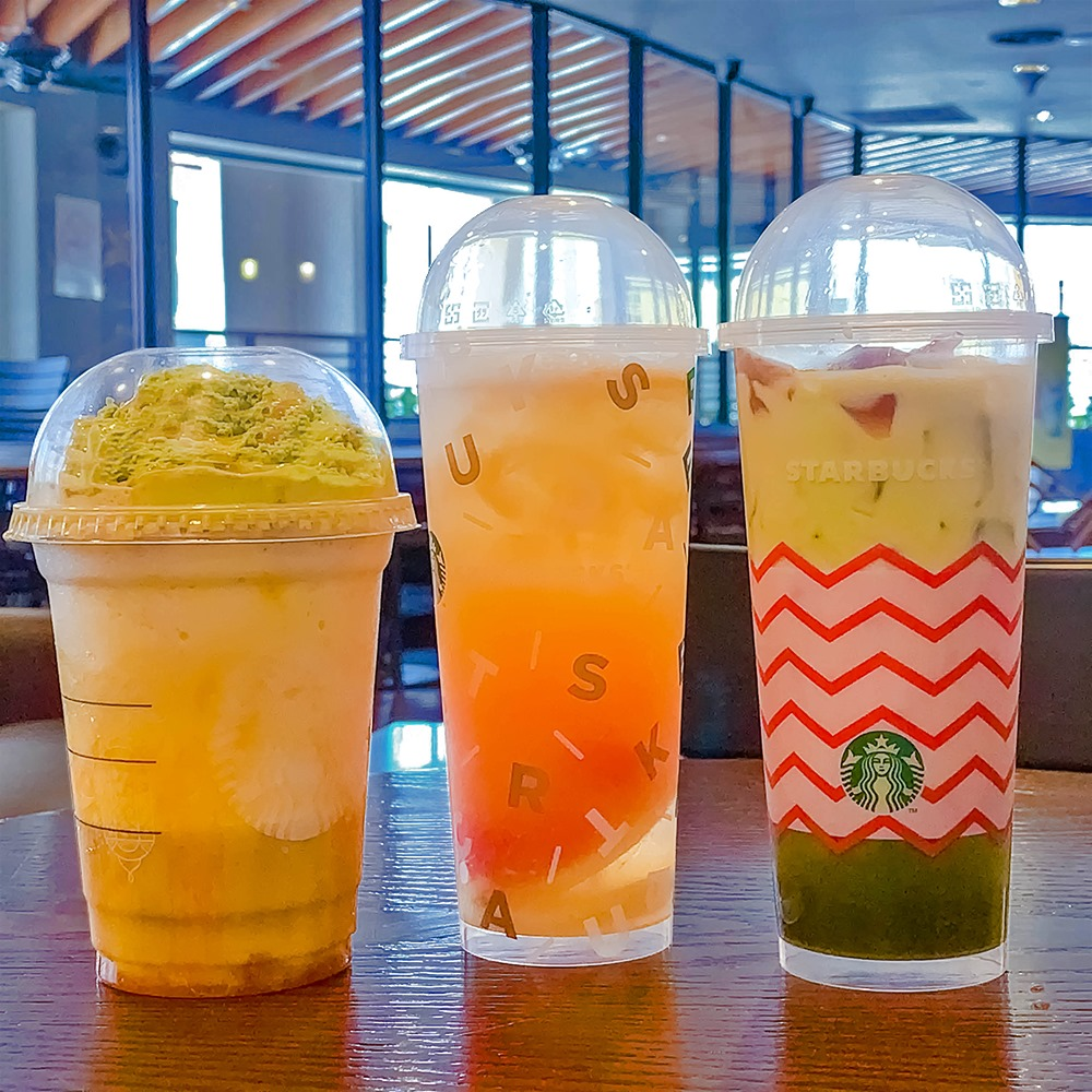 Caramel Sweet Corn Frappuccino, Tropical Triple Citrus and Oolong Jelly Matcha Royale