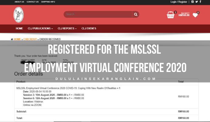 Registered for the MSLSSL Employment Virtual Conference 2020