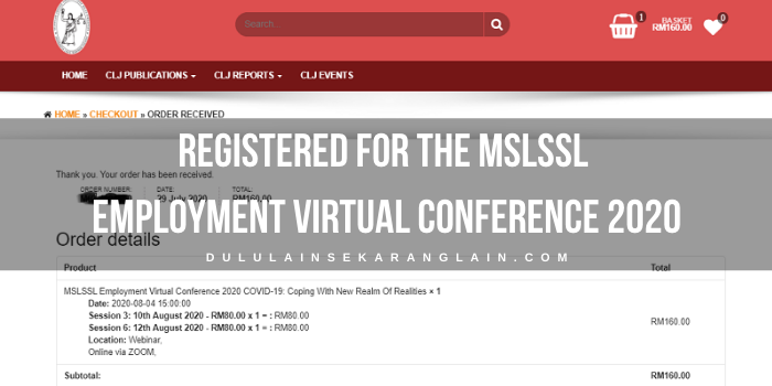 Registered for the MSLSSL Employment Virtual Conference 2020