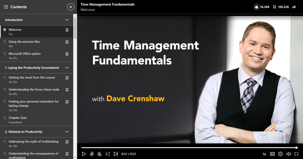 LinkedIn Learning Time Management Fundamentals with Dave Crenshaw