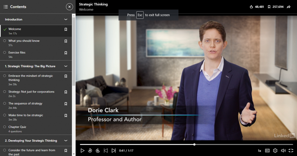 LinkedIn Learning Strategic Thinking by Dorie Clark
